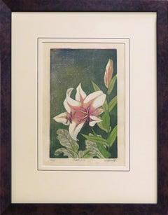 Tiger Lily 6/15 (woodblock print, japanese paper, framed, magenta, green)