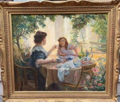 Lunch In The Garden Signed Leon Mayet Dated 1909