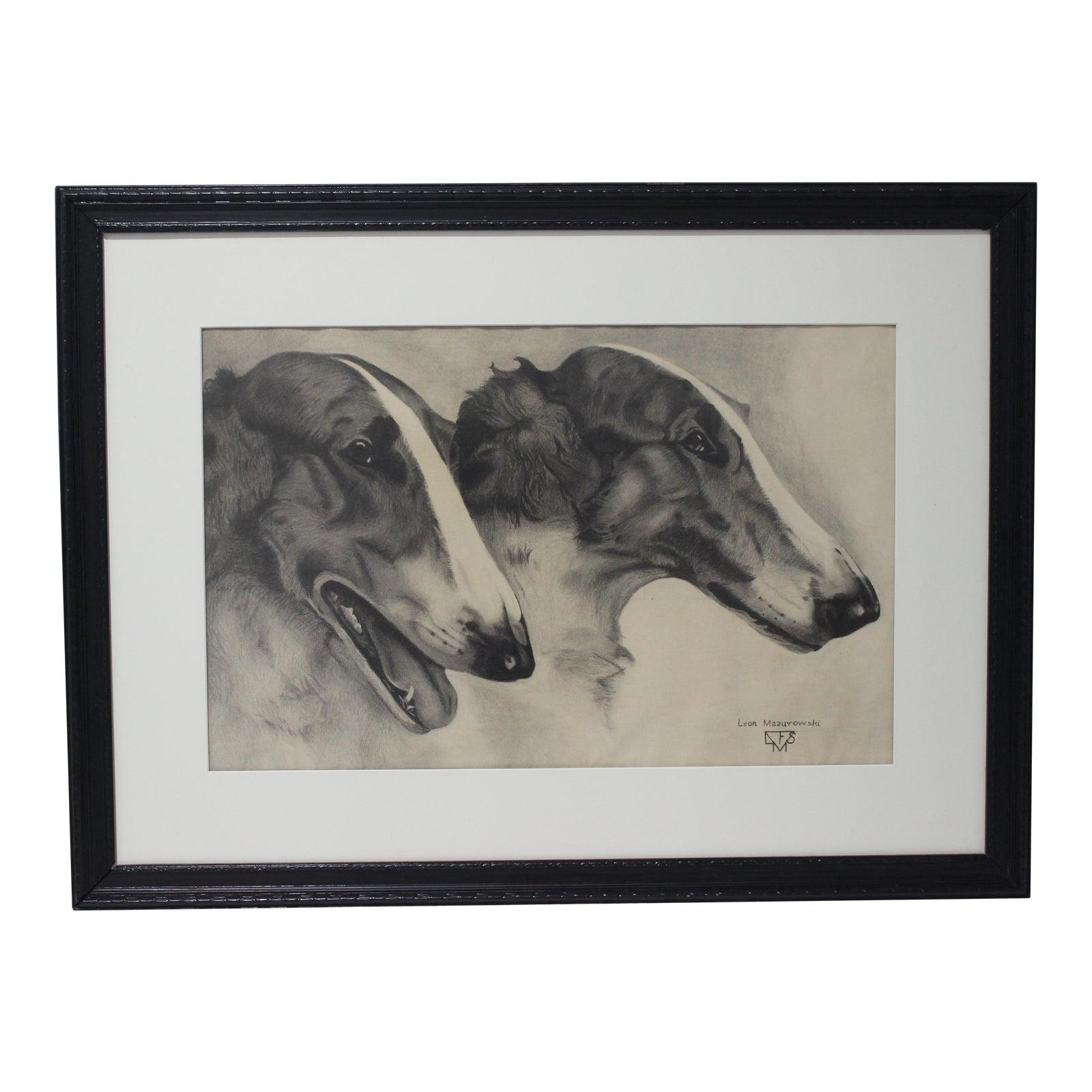 Leon Mazurowski Borzoi Dogs Graphite and Charcoal Drawing on Paper