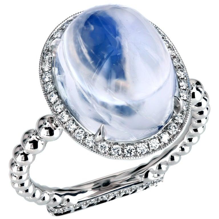 Leon Mege 13.22 Carat Moonstone Cab Ring with Diamonds in Platinum For Sale
