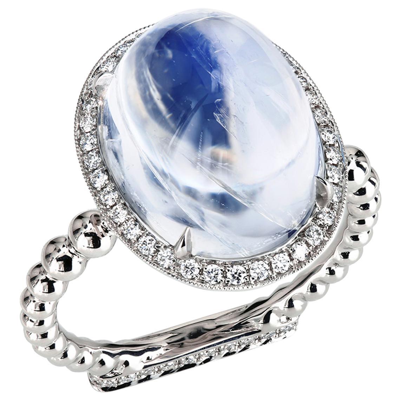 Leon Mege 13.22 Carat Moonstone Cab Ring with Diamonds in Platinum