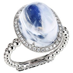 Leon Mege 13.22 Carat Moonstone Cab Ring with Diamonds in Platinum