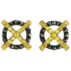 Leon Mege 18 Karat Yellow Gold Studs Earring with Sapphires and Black Diamonds