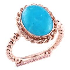 Leon Mege 18K Rose Gold Flamingo Ring with Pink Diamonds and Hemimorphite Cab