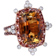 Leon Mege 8.53 Carat Honey Tourmaline 18 Karat Gold Ring with Red Diamonds