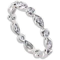 Leon Mege Alternating Marquise and Round Diamond Eternity Wedding Band