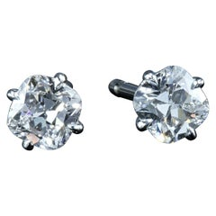 Leon Mege Antique Cushion Cut F/VS Diamond Studs Earring in Platinum