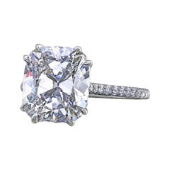 Leon Megé Antique Cushion Cut Ring with Micro Pave on Basket and Shank