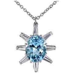 Leon Mege Aquamarine and Diamond Baguettes Handmade Platinum Pendant