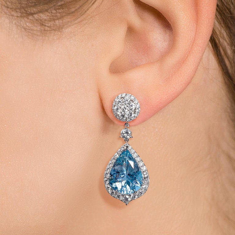 Contemporary Leon Mege Aquamarine and Diamond Convertible Earrings with Detachable Studs For Sale