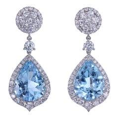 Leon Mege Aquamarines and Diamonds Convertible Earrings with Detachable Pendants