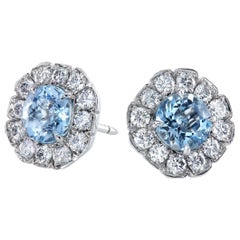 Leon Mege Art Deco Style Studs Round Aquamarines and Diamonds Set in Platinum