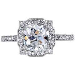 Leon Mege Art Deco Style GIA 1.59 Carat E/VS1 Cushion Platinum Diamond Ring