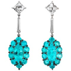 Leon Mege Couture Earrings Natural Brazilian Paraiba and French-Cut Diamonds