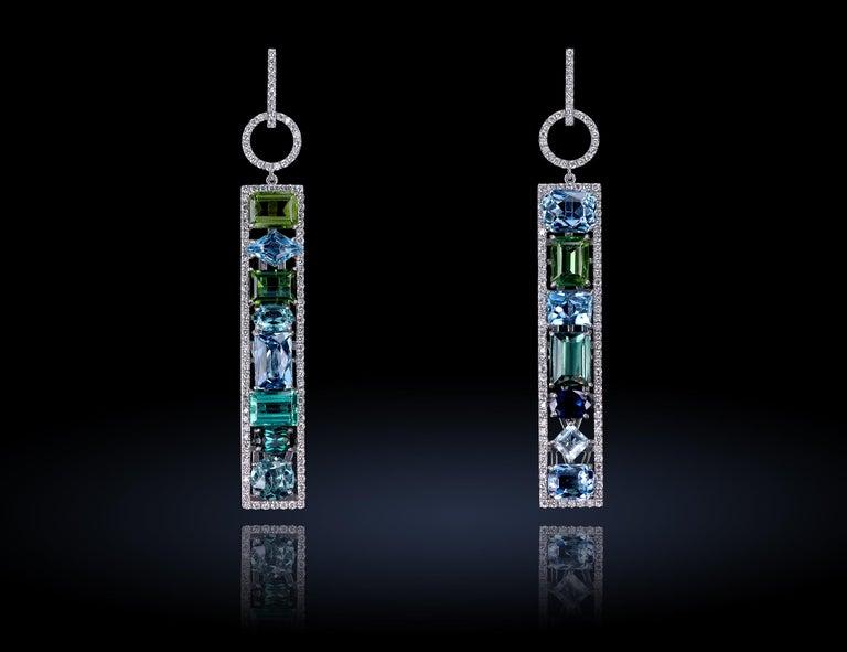 Contemporary Leon Mege Couture Tourmaline Aquamarine Sapphire Diamond Earrings  For Sale