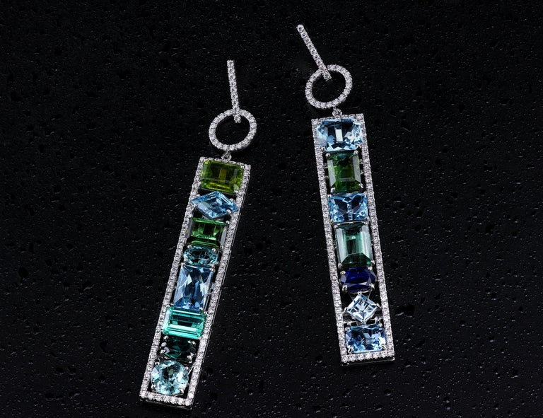 Asscher Cut Leon Mege Couture Tourmaline Aquamarine Sapphire Diamond Earrings  For Sale