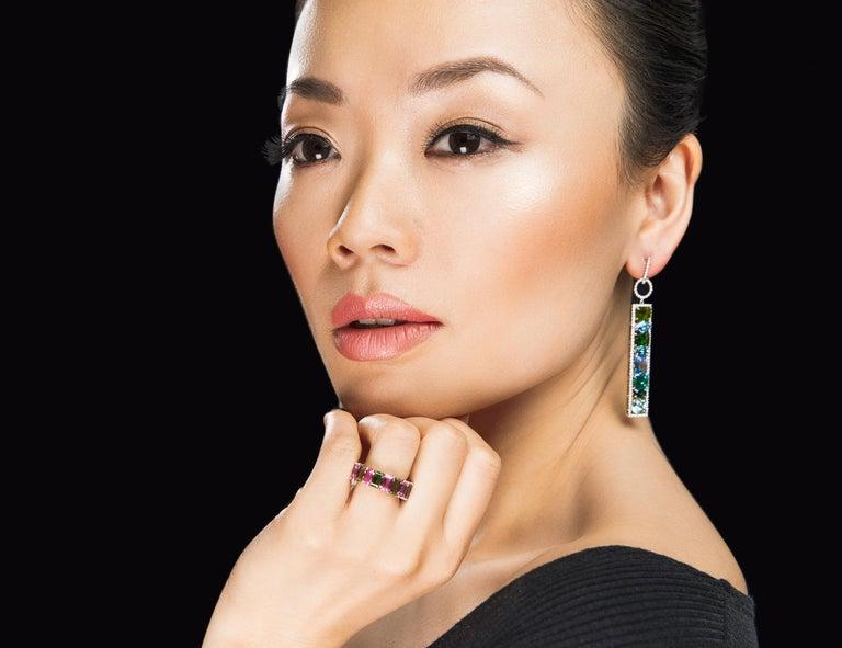 Women's Leon Mege Couture Tourmaline Aquamarine Sapphire Diamond Earrings  For Sale