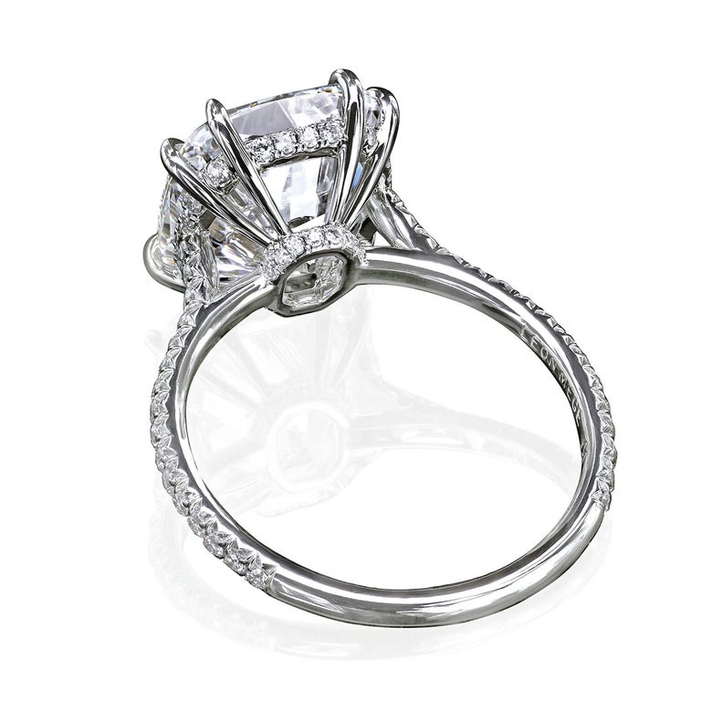 Leon Mege Custom Made Antique Cushion Diamond Engagement Micro Pave Ring For Sale At 1stdibs