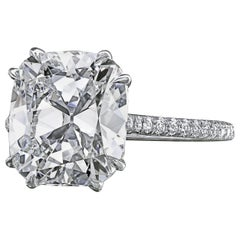 Leon Megé Custom Made Antique Cushion Diamond Engagement Micro Pave Ring