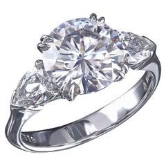 Leon Mege Custom Made Platinum Classic Three-Stone Ring