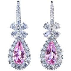 Leon Mege Diamond Chandelier Earrings with Pear-Shape Morganites