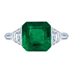Leon Mege Five-Stone Certified Assher Cut 8.49 Carat Colombian Emerald Ring
