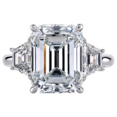Leon Mege GIA Cert Emerald Cut Diamond Classic Three-Stone Ring with Trapezoids