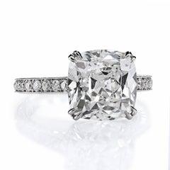 Leon Mege GIA Certified 6.02 Carat E/VS2 Antique Cushion Diamond Engagement Ring