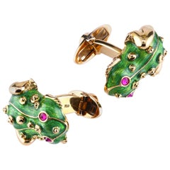 Leon Mege Hand Made 18K Gold Green Enamel Frog Cufflinks with Natural Ruby Eyes
