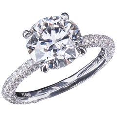 Leon Mege Micro Pave Platinum Solitaire with Two Carat GIA Certified Diamond