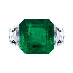 Leon Mege Natural Certified Colombian 8.49 Carat Emerald Ring Diamond Chevrons