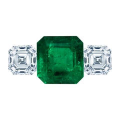 Leon Mege Natural Certified Colombian 8.49 Carat Emerald Three-Stone Ring