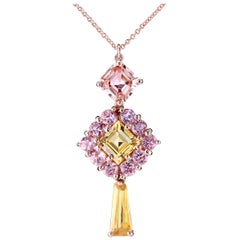Leon Mege Natural Pastel Yellow Sapphire and Pink Spinel 18 Karat Gold Necklace