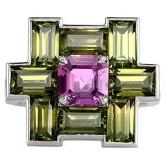 Leon Mege Natural Pink Olive Sapphire Diamond Platinum Ring