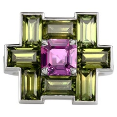 Leon Mege Natural Pink Olive Sapphire Diamond Platinum Ring