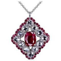 Leon Mege Pigeon Blood Ruby and Diamond Haute Couture Platinum Necklace