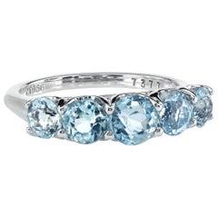 Leon Mege Platinum Ring with Antique-Cut Graduated Natural Aquamarines