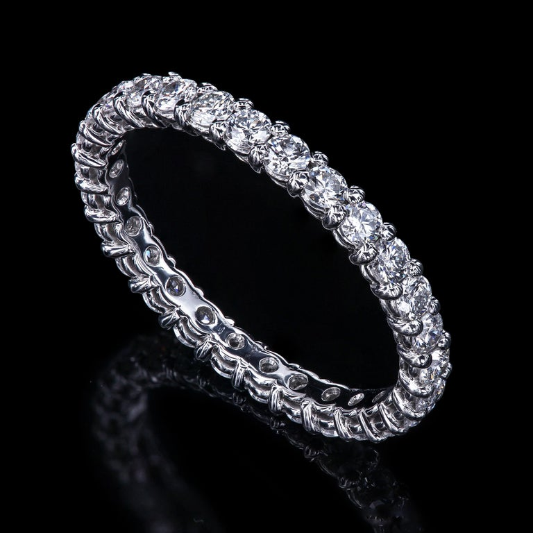 Round Cut Leon Mege Platinum Shared-Prong Wedding Band in Platinum For Sale