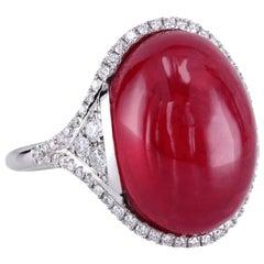 Leon Mege Rare Rhodonite with Diamond Pave Platinum Art Deco Style Ring