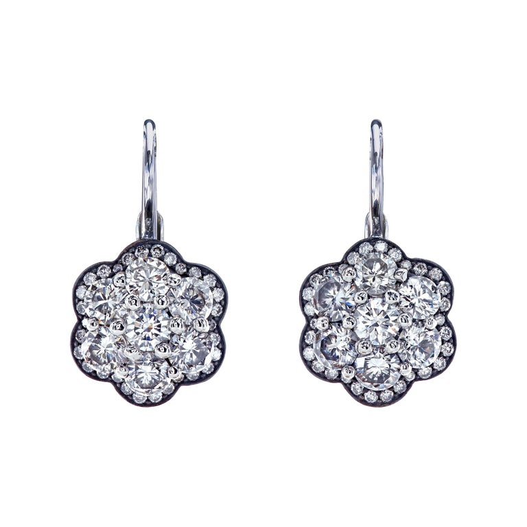 Leon Mege Round Diamond Florette Earrings For Sale