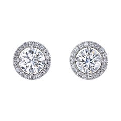 Leon Mege Round Diamond Platinum Studs Earrings with Removable Jackets