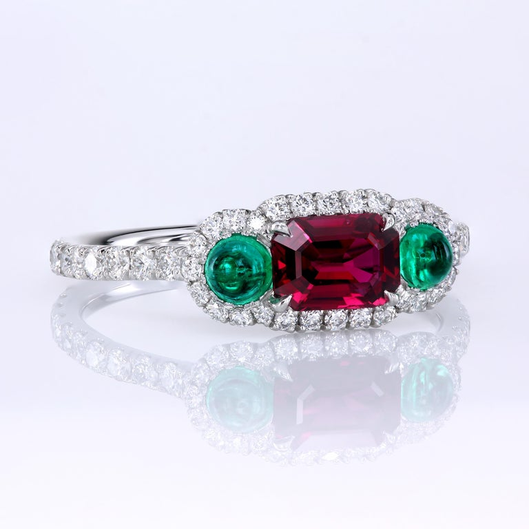 Contemporary Leon Mege Ruby and Cab Emeralds in Micro Pave Platinum Bespoke Right-Hand Ring For Sale