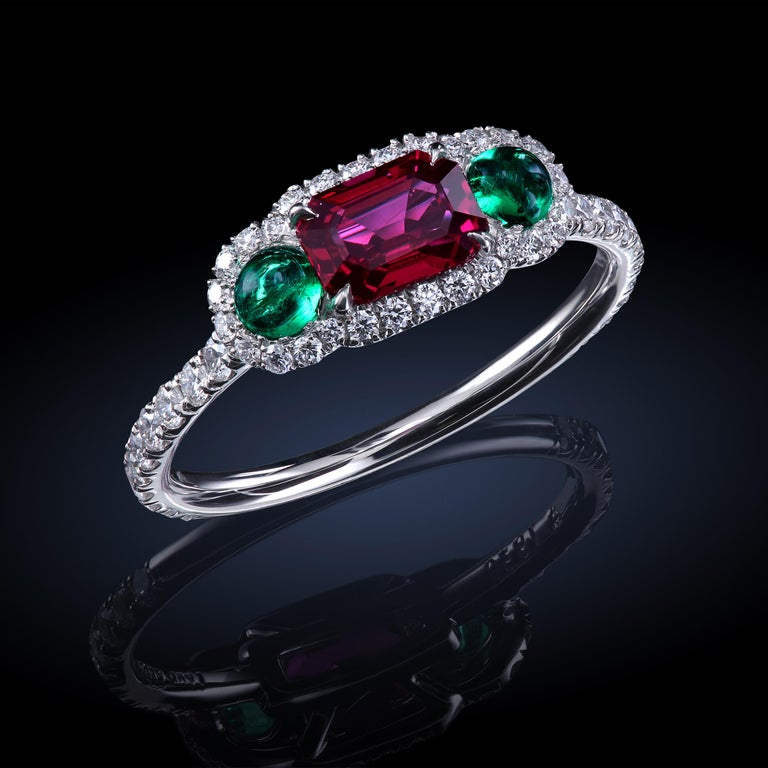 Emerald Cut Leon Mege Ruby and Cab Emeralds in Micro Pave Platinum Bespoke Right-Hand Ring For Sale