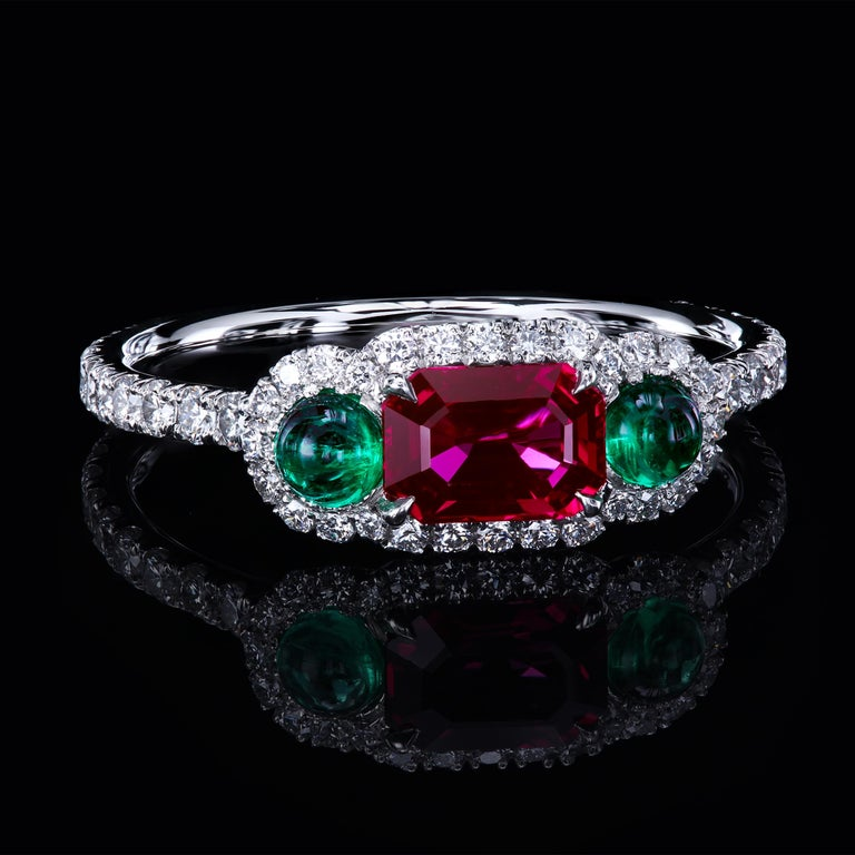 Leon Mege Ruby and Cab Emeralds in Micro Pave Platinum Bespoke Right-Hand Ring In New Condition For Sale In New York, NY