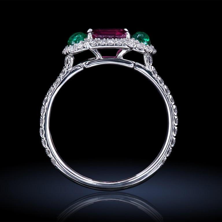 Women's Leon Mege Ruby and Cab Emeralds in Micro Pave Platinum Bespoke Right-Hand Ring For Sale