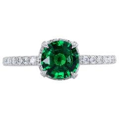 Leon Mege Vivid Round Green Tsavorite Garnet in Micro Pave Platinum Ring