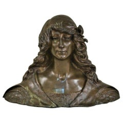Leon Noel Delagrange French Bronze Bust of a Young Art Nouveau Woman