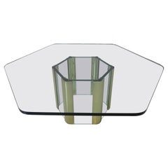 Leon Pace Brass / Plate Glass Hexagon Coffee Table for Pace