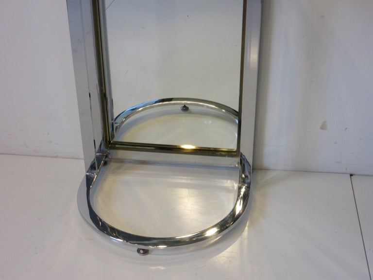 Chrome Leon Pace Standing Racetrack Hall Mirror for the Pace Collection For Sale