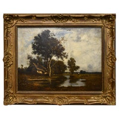 "Leon Richet French Barbizon School Oil Painting ""Le Mare"", 19th Century"